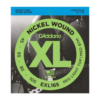 EXL165 Nickel Wound Bass, Custom Light, 45-105, Long Scale